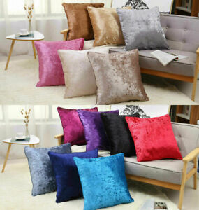 "Crushed&Plain Velvet Cushion Covers Luxury Plush Piped Edges 18X18,24X24,30x30"""