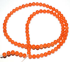 "Orange Carnelian Jade Gemstone 4 mm Round Smooth Beads 13"" 1 Loose Strand UYT14"