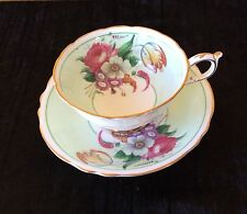 PARAGON Cup & Saucer Set Pale Green & Floral - Appoint to Queen & Queen Mary