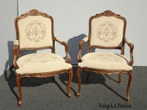 Pair Vintage French Provincial Tan Tapestry Style Ornate Accent Arm Chairs