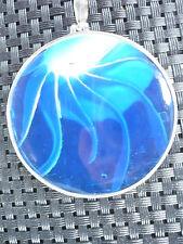 Anhänger 925ér Silber Unikat Muschel  Nautilus im Satinbeutel in blau rund