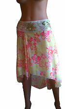 H & M EMBROIDERY BEADED ASYMMETRIC MULTI GREEN PINK FLORAL TULLE SKIRT 10 NWT!