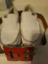 Lot 2) DC Villian Slip On Casual Sneakers  White Men's US Size 8 & Belt SZ Small