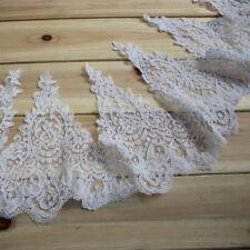 """9""""*1Y White Bridal Veil Alencon Lace Trim Bridal Wedding Dress Fabic"""