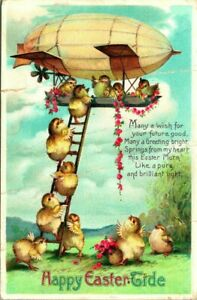 Antique EASTER Postcard  CLAPSADDLE  CHICKS BOARDING AN AIRSHIP BY LADDER  1911