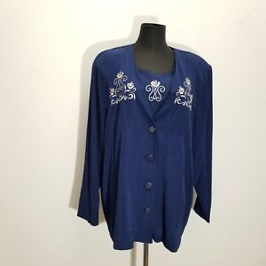Susan Graver Studio Cardigan Twinset Blouse Top XL Blue Floral Scroll Embroider