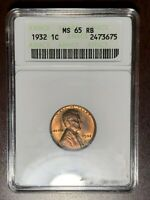 1932 P ANACS MS-65 RED / BROWN Lincoln Cent Wheat Penny  #W6950