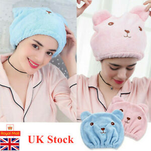 Quick Dry Hair Turban Hair Drying Towel Wrap Turban Head Hat Bun Cap Shower UK
