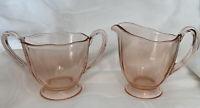 Vintage pink depression glass sugar bowl & creamer set, Excellent Condition