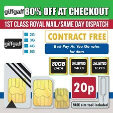 Giffgaff Sim Card Pay As You Go-80GB Data Unlimited Minutes & Txts For £20 TopUp