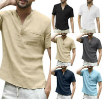 Men's Summer O-Neck Cotton Linen Solid Color Short Sleeve T-Shirts Tops Blouse