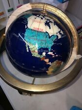 Blue Lapis Rotating Globe With Precious Stones And Campus Great Condition