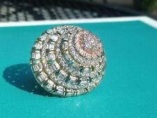 Sonia Bitton Tri Tone Sterling Gold Embraced Dimensional CZ Shell Ring  AS IS