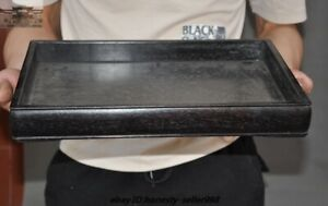 """14""""Old Chinese Dynasty Palace Black rosewood Wood Carved Tray Pallets Dish plate"""