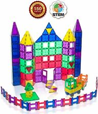 Award Winning Playmags Clear Colors Magnetic Tiles Deluxe Building 150 PC Set