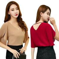 Korean Women Chiffon Sexy V neck Shirt Butterfly Sleeve Loose Slim Casual Blouse