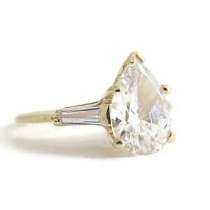 Pear Tapered Baguette CZ Engagement Ring 14K Yellow Gold, 2.05 CTW, 2.26 Grams