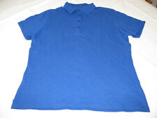 Hanes Stedman adult XL 16-18 mens short sleeve cotton Polo shirt blue NOS