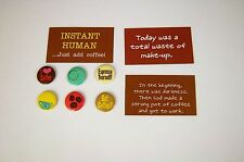Lot of 9 Kitchen Refrigerator Magnets Morning Coffee Makeup Humor Funny Gift