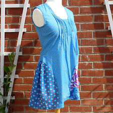 NEW Joe Browns Blue Polka Dot & Floral Ruffle Dress UK12 Boho Festival Beach