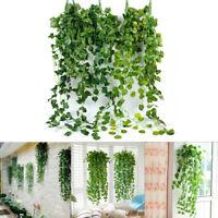 7 Style Artificial Fake Leaf Vine Hanging Garland Plants In/Outdoor Garden Decor