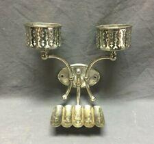 Antique Nickel Brass Double Cup Holder Soap Dish Holder Old  Vtg Bath  437-19J