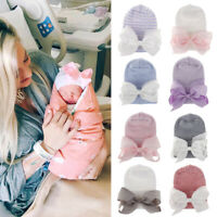 Newborn Baby Girl Soft Cute Indian Turban Knot Knitted Wool Hat Comfortable BJH