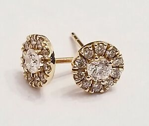 14 kt rose gold 22 diamond stud earrings with Halo diamonds .40 cts ef dn