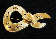 Buckle Pin Brooch gold tone Vintage Monet Textured Belt &