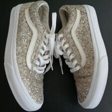 VANS Skate SK8 Gold GLITTER Shoes Women's Size 10 Sneakers FREE SHIPPING