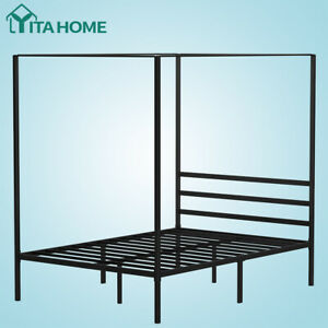 """YITAHOME Full Metal Canopy Bed Frame with Headboard Platform No Box Spring 14"""""""