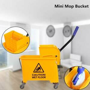 5 Gallon Mini Press Mop Bucket with Wringer 20L Rolling Cleaning Cart Yellow