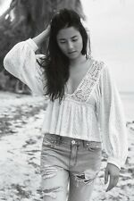 NEW FREE PEOPLE Sz L MAUI WOWIE CROCHET EMBROIDERED BLOUSE TOP IVORY WHITE