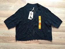 NWT Womens LEO & NICOLE Shawl Cardigan Short Sweater Black Half Sleeve XL