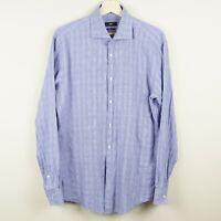Boss Hugo Boss Long Sleeve Button Jaron Slim Fit Blue Checkered Shirt Mens Sz 17