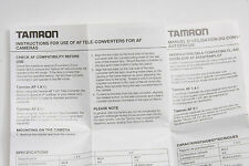 Tamron AF Tele-Converter Manual Fold-Out - English Fr De Ja It - USED B97