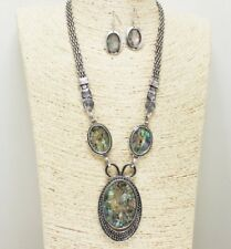 Antique Silver and Abalone FASHION Necklace Set