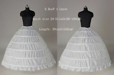 Women 6 Hoop Petticoat Underskirt Skirt Lady White Bridal Crinoline Slips Hoops