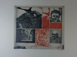 """Peter Sorge """"Spiel der Großen"""" Farbradierung, 1972, signiert"""