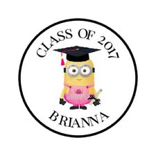 Graduation Minion Girl Hershey Kiss Sticker Labels Personalized Party Favors