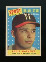 1958 Topps BB Card #480 Eddie Mathews Milwaukee Braves ALL-STAR NM-MT OR BETTER