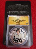 2011 Niue $1 Silver Plate Star Wars Luke Skywalker ANACS PF69 Disney ngc w/ COA!