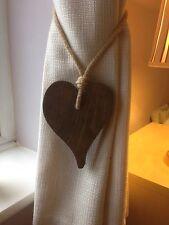 Pair Of Handmade Offset Dark Wooden Heart Curtain Tie Backs With Jute Rope Tie