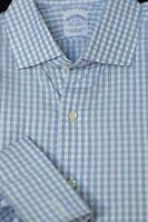 Brooks Brothers Men's Blue & White Check Egyptian Cotton Dress Shirt 17 x 33