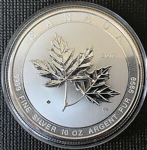 "Canada 2017 $50 ""Sugar Maple Leaf"" Brilliant Uncirculated 10 oz .999 Silver Coin"