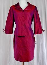 DONNA MORGAN PETITES~Sz 10~Silk~Lined~2 Pc Skirt Suit~Red With Purple Sheen~NWT