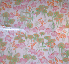 Vintage 1960's Gift Wrapping Paper Water Lily Flowers Pink Orange Green Retro