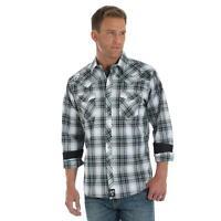 Wrangler Rock 47 Men's Black & Hunter Green Plaid Snap Up Western Shirt MRC365M