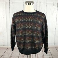 Vintage Bachrach Sweater L XL Coogi Style Striped Textured Weave Soft Grandpa