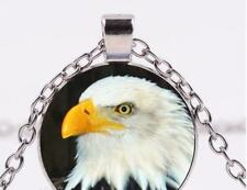 "Bird pendant sterling Silver 20"" necklace Flag Usa Head charm Bald Eagle"